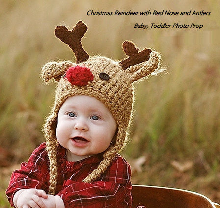 Crochet Reindeer Hat Christmas Photo Props Babies Deer Hats Rudolph Bright Red Nose Holiday Card Photography Boys Girls Cap Boy's Outerwear Christmas  Gift