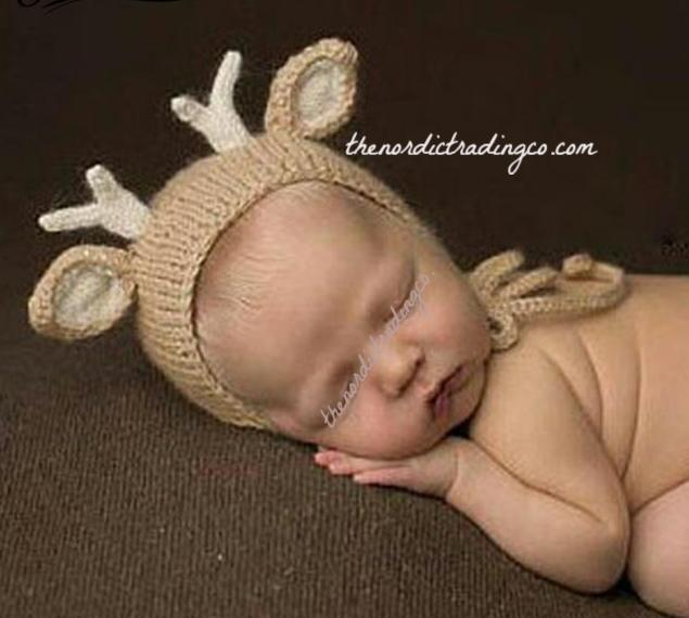 Baby Deer / Doe Infant Photo Prop Hat & Antlers Deer Hunter Boys Girl Fawn Newborn Props Beige Crochet Hats First Photos Photo Shoot Boy Girl