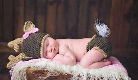 """ It's A Doe "" Deer Baby Hat Diaper Cover Pink Bow Budding Antlers Newborn Crochet Baby Photo Prop Set 1st Photo Birth Announcement Finished Product"