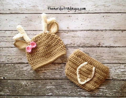 """ It's A Doe "" Deer Baby Hat Diaper Cover Pink Bow Budding Antlers Newborn Crochet Baby Photo Prop Set 1st Photo Birth Announcement Finished Product Fawn"