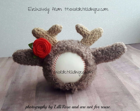 """ It's A Doe "" Tiny Deer Crochet Hat Red Rose Budding Antlers Newborn Infant Girl Baby Shower Gift 1st Photo Prop Christmas Cards Birth Announcement"