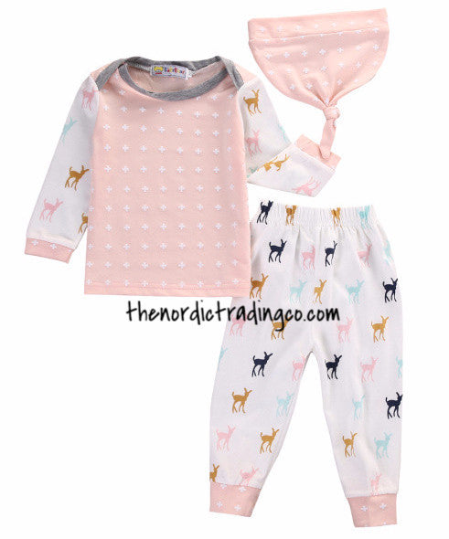 Nordic Baby Doe Infant Girl 3 pc. Set Colorful Deer Pattern Pant Blush Pink Matching Knot Beanie / Doe Sleeves Newborn Clothing Baby Shower Gifts 3 mo.