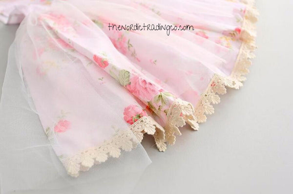 Girl's Shabby Chic Lace English Rose Pink Floral Dress sz 2 - 6 Baby Toddler Dresses 3 Colors Sisters Easter Flower Girl Clothing