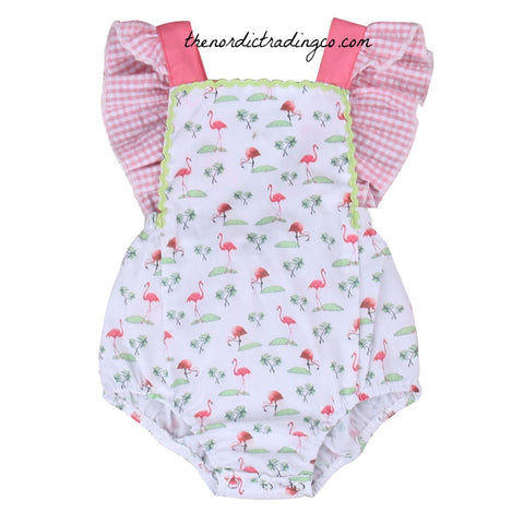 Baby Girls' Retro Flamingo Romper Sun Suit Pink Gingham Ruffles 0/6 mo Infant Clothing Girl's One Piece Outfit Baby Girl USA