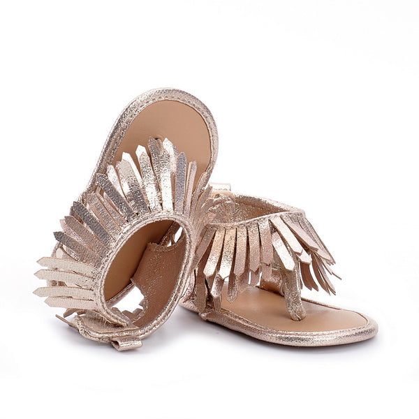 Baby Girl Fringe Vegan Suede Sandals Ankle Strap Pink Hot Pink Brown Orange First Shoes Infant Kids Hot Item