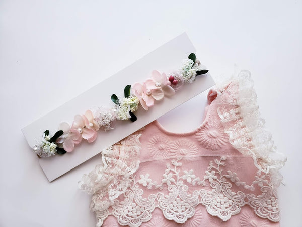 Newborn Girls Photo Shoot Outfit Romper Bodysuit Flower Infant Handmade Peach Pink Flower Headband Head Crown Photo Prop Baby Girl's Shower Gift Girl
