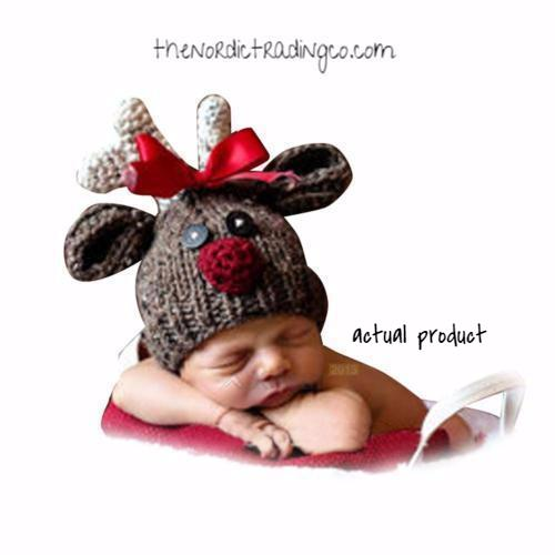 Rudolph the Red Nosed Reindeer Photo Prop Hat NB Baby Girl