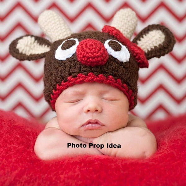 Handmade Crochet Reindeer Hats Rudolph Red Nose Christmas Photo Photography Prop Baby Girl Hat Gifts Baby Shower Gift Ships from USA