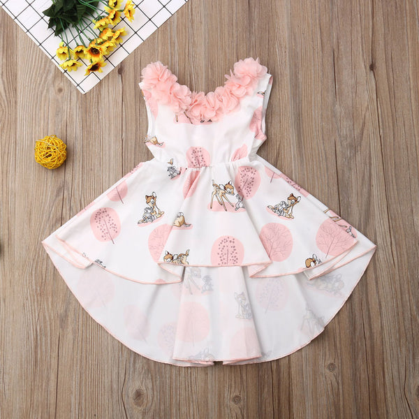 Girl's Bambi Hi Lo Dress Baby Toddler Kids Girl Dresses Deer Thumper Bunny FREE Antler Girls Headband Birthday Party Clothing Clothes Children's Casual