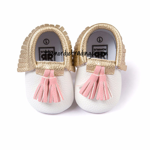Pink Infant Girl's Romper Set 3 Headbands Fringe Shoe Moccasins Mocs Baby Shower Gift Newborn Girl's Clothing Babies
