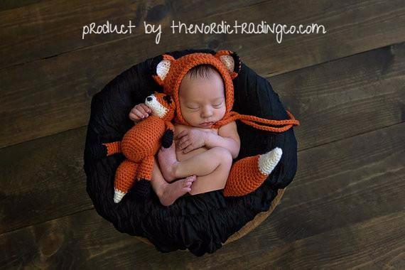 infant fox and tail costume handmade