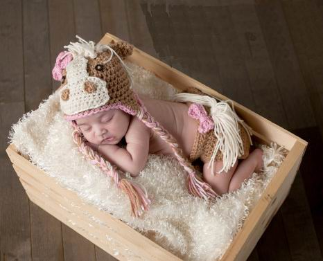 Baby Girls or Boys Newborn Horse Hat Photo Prop 2pc Outfits Handmade Crochet Costume Pink Blue Cowgirl Up Pony Halloween Costume Cowboy Infant Children's Girl Boy