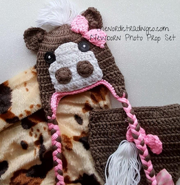 New Cowgirl in Town Newborn Girl's Little Pony Horse Photo Prop Set Handmade Crochet Braided Tassles Hat Pink Bow Diaper Cover White Mane Tale Baby Shower Gift Infant Girl's 1st Photo Shoot Sets USA