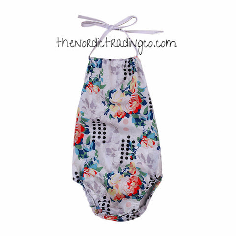 Baby Girl Romper Vintage Floral One Piece Halter Tie Newborn Girl's Summer Clothes Handmade Free Headband Infant Baby Shower Gifts