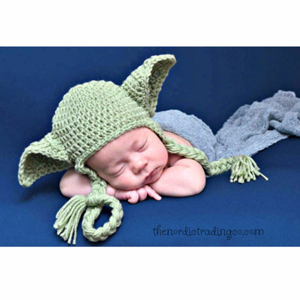 Handmade Crochet Infant Baby Yoda Hat Star Wars Inspired, Adorable Halloween Costume Photo Prop