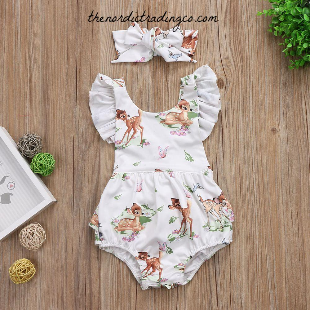 3768ae16564 Bambi Baby Girl s Ruffle Bottom Romper Flutter Sleeve Cross Back Matching  Headband Girls Baby Shower Gifts Kids Clothes Ships from USA