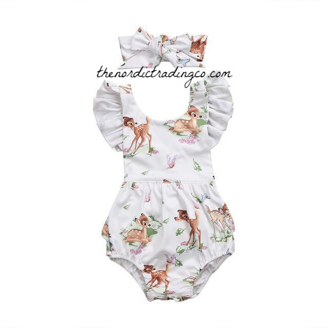 Bambi Baby Girl's Ruffle Bottom Romper Flutter Sleeve Cross Back Matching Headband Girls Baby Shower Gifts Kids Clothes Ships from USA