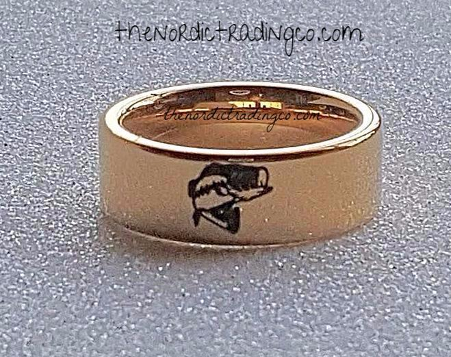 Large mouth bass engraved men 39 s fishing sportsman wedding for Fishing wedding band