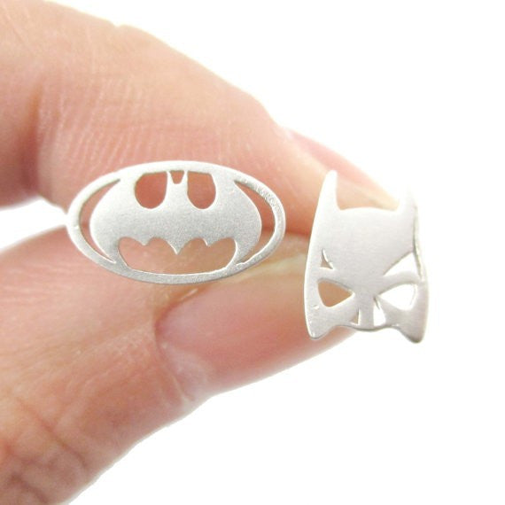 Tiny Micro Cat Woman Mask & Batman Symbol Stainless Steel Necklace Silver Women's Comic DC Jewelry