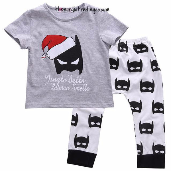 Jingle Bells Batman Smells Humorous Christmas Set Pants Top Boy Girl Unisex Baby Toddler Holiday Kids Clothing Apparel Christmas 6, 12, 24, 3T