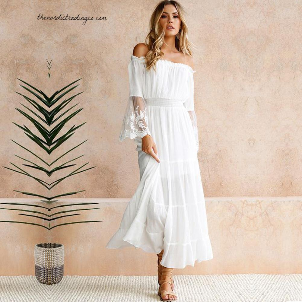 e7211dd27cf Beach Wedding Dress White Lace Bell Sleeve Off Shoulder Maxi Boho Chic –  thenordictradingco.com