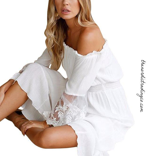Beach Wedding Dress White Lace Bell Sleeve Off Shoulder Ankle Length Women's Dresses Festival Women Gown Gowns Women Tropical Coastal Weddings