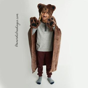Grizzly Bear Hooded Throw Blanket Boy's Woodland Cabin Lodge Home Style Boys Bedding Childrens Decor Kids