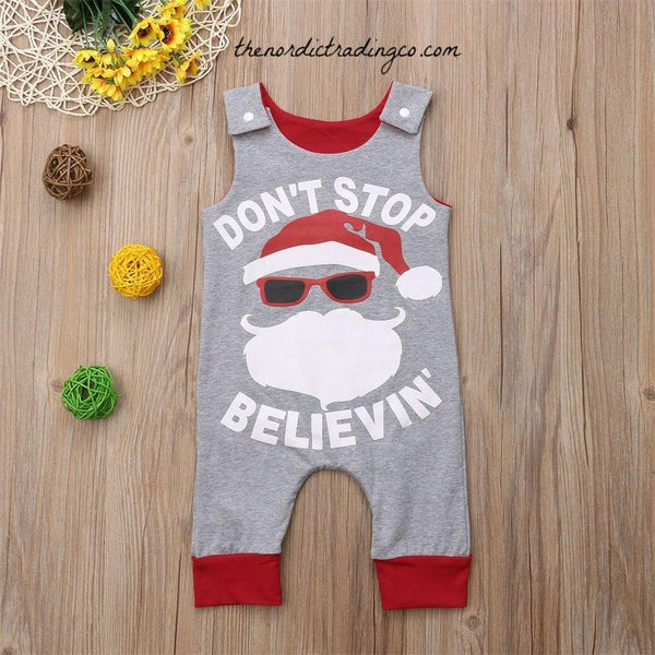 Don't Stop Believin' Infant Boy's Christmas Santa Claus in Sunglasses One pc Romper Long Pants Boy Outfits Baby Shower Gift Kids Boys Infant 0/6 USA