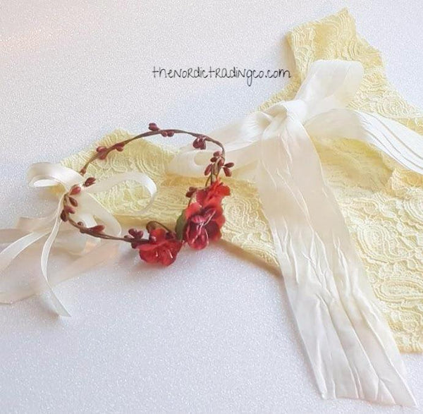 Belle Newborn Yellow Antique Lace Bodysuit Satin Bow Baby Photo Prop Set Red Flower Twig Headband Crown Wreath Handmade Princess Photography Sets Gift