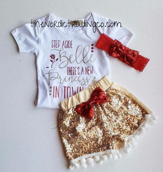 Infant Girl Nordic Sets Move Over Belle There's a New Princess in Town Gold Sequin Pom Pom Shorts Onesie Top Red Glitter Hairband Baby Shower Gift Ideas Clothes Clothing Set 0/6 mo