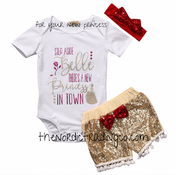 Step Aside Belle There's A New Princess in Town 3 pc Newborn Infant Baby Girl Set Baby Shower Gift Ideas Girl's NB Beauty the Beast