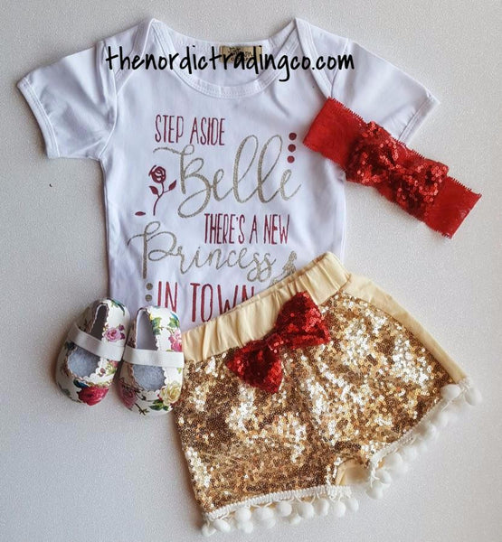 "Infant Girl Nordic Sets "" Move Over Belle There's a New Princess in Town "" Gold Sequin Pom Pom Shorts Onesie Top Red Glitter Hairband Baby Shower Gift Ideas Clothes Clothing Set Infant 0/6 mo"