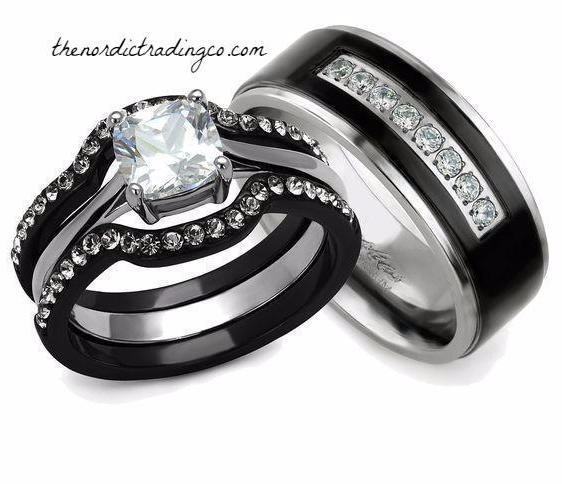 His Hers Engagement & Wedding Ring Set Black / Silver Ion Plated 3 ring Women Set 1.3ct Square Princess Cut AAA CZ Men's Titanium Band Womens SZ 5 - 11
