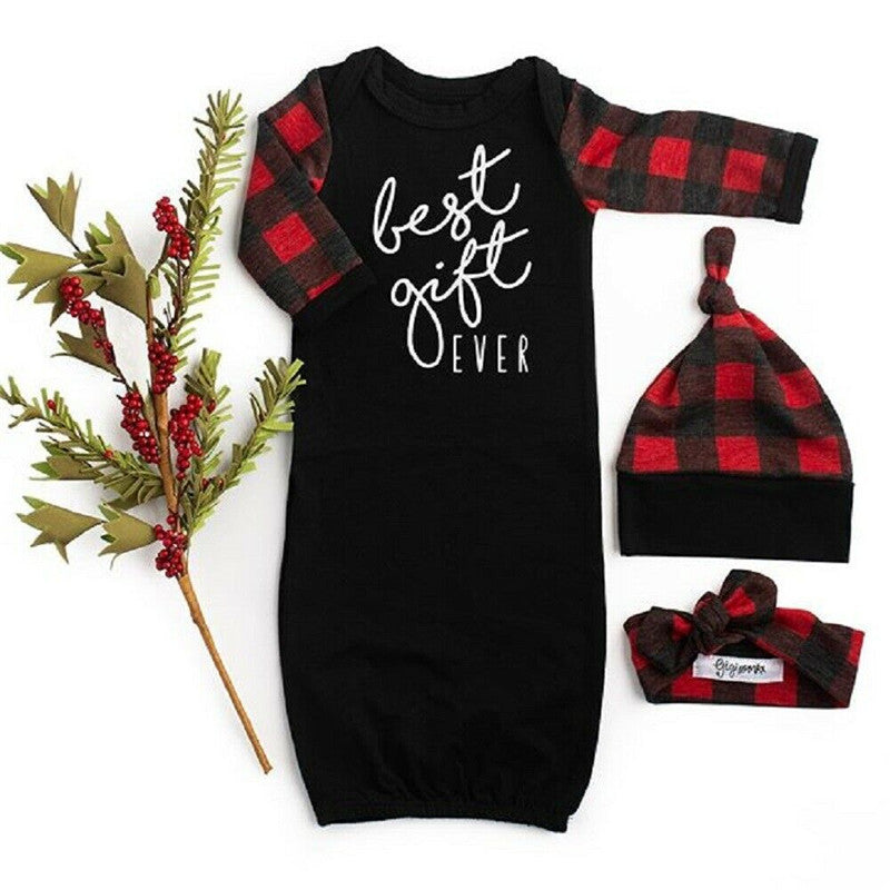 Best Gift Ever Sleep Gown Buffalo Plaid Baby Gift Set Christmas Pictures Outfit