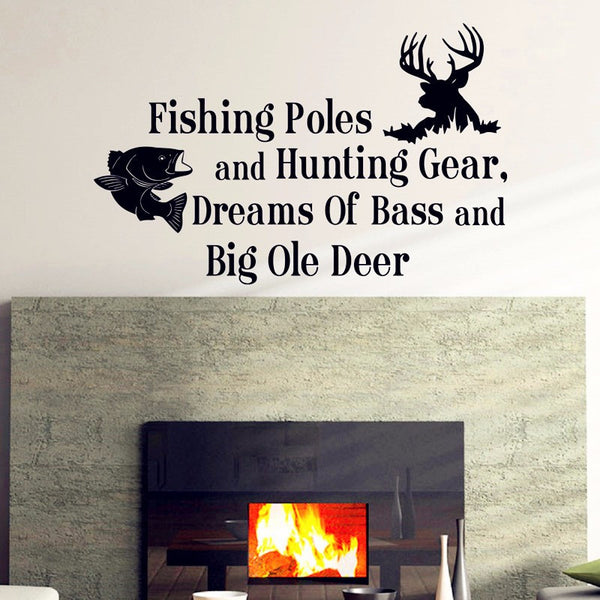 "Boy Hunting Fishing Theme Large Wall Decal "" Fishing Poles and Hunting Gear Dreams Of Bass & Big Ole Deer """