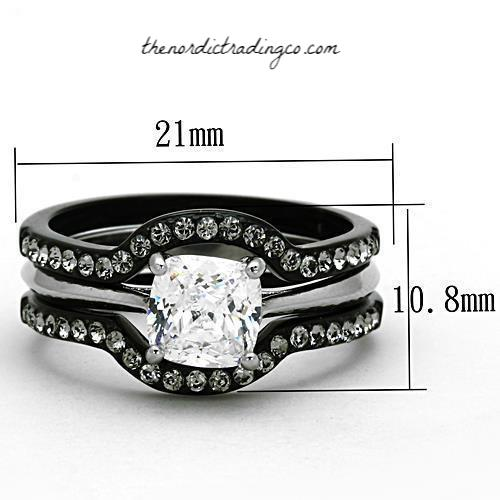 His & Hers Engagement & Wedding Ring Set Black / Silver Ion Plated 3 ring Women Set 1.3ct Square Princess Cut AAA CZ Men's Titanium Band Womens SZ 5 - 11