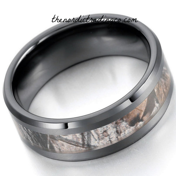 Black Camo Ceramic Men's or Women's Ring Wedding Bands Anniversary Gift Urban Outdoorsman Hunter Band Unisex