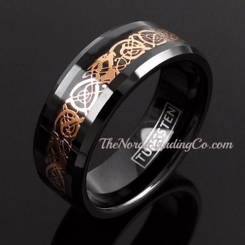 Dramatic Dragon Gold Celtic Pattern Inlay over Deep Black Tungsten Carbide Men's Wedding Rings / 8mm Band Affordable Luxury Ring Mens Bands Jewelry