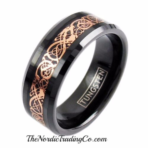 Mens Black & Gold Celtic Inlay Tungsten Wedding Ring Grooms Band