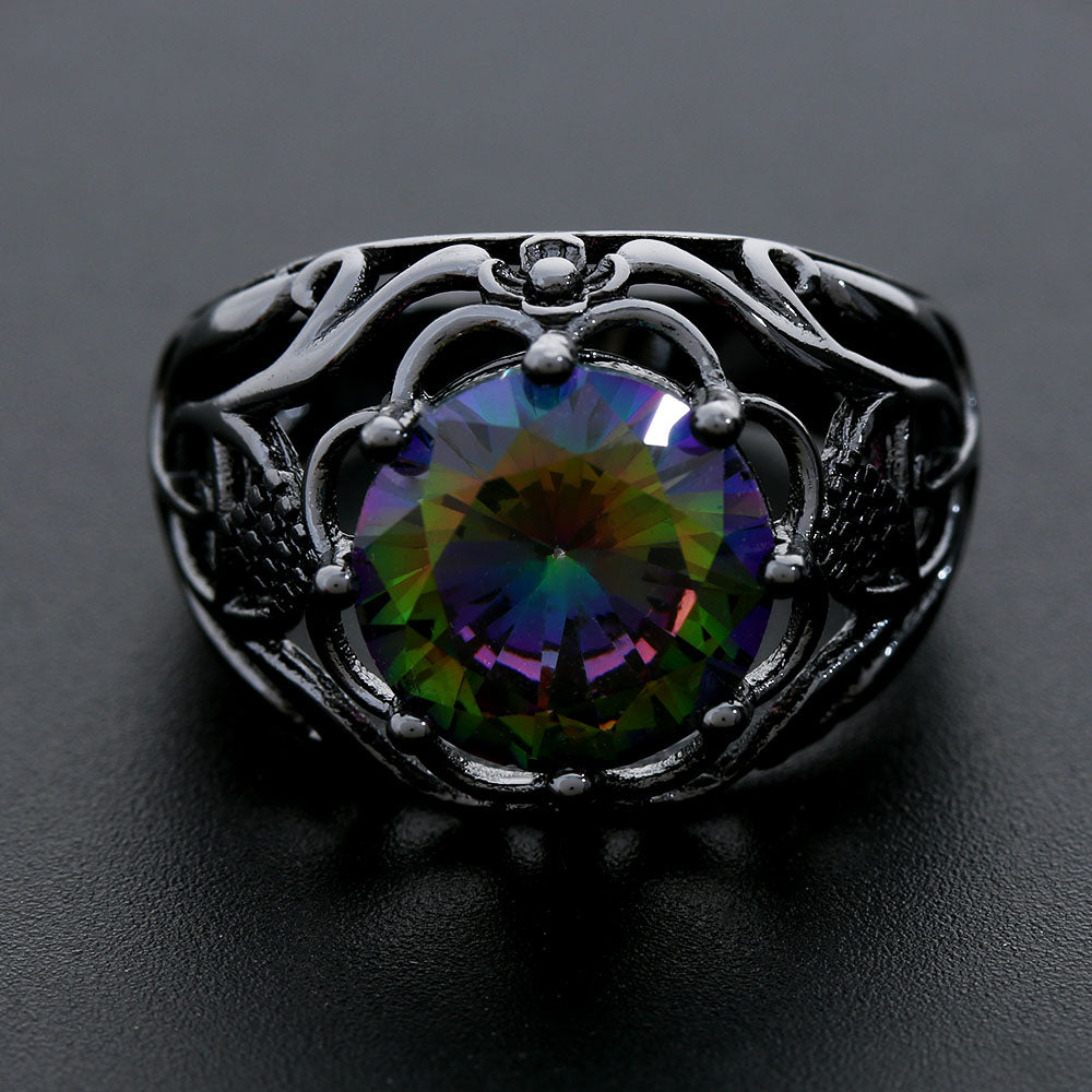 sterling emerald rings fire for topaz women silver genuine wedding natural mystic ring engagement hot rainbow cut