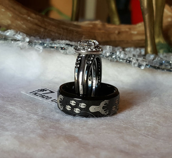 Wedding Engagement Ring Set Men's Black Tungsten Band Etched Deer Head & Tracks Women's 3 Rings Set Bride Groom Wedding Jewelry