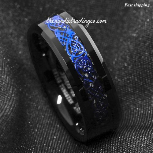 Black Dragon Celtic Dragon Band Ring Vivid Blue Inlay 6-13