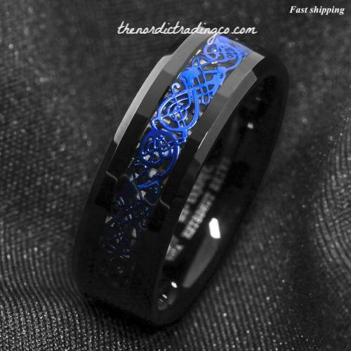 Dramatic Celtic Black Dragon Tungsten Ring Deep Blue Overlay Men's Women's Unisex / Jewelry Wedding Band Affordable Luxury SZ 6 -13