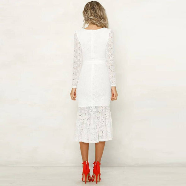 Romantic French Lace Dove Tail Dress Black or White Women's Sheer Hi Lo Cocktail Dresses Women S M L XL