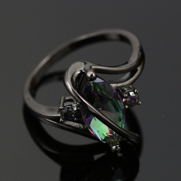 Women's Mystic Rainbow Topaz Ring Black Plated Setting Sizes 6 - 10  Women's Couture Jewelry Statement Ring's Birthday Anniversary Gifts for Her
