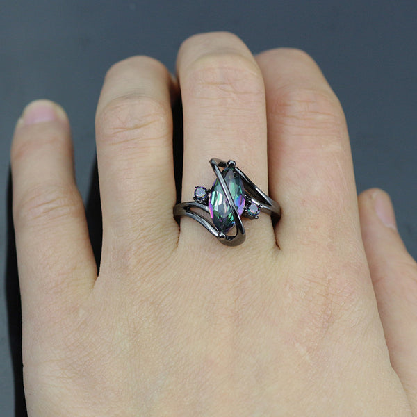 New Item Women's Mystic Rainbow Topaz Ring Black Plated Setting Sizes 7, 8, 9, 10 Couture Jewelry