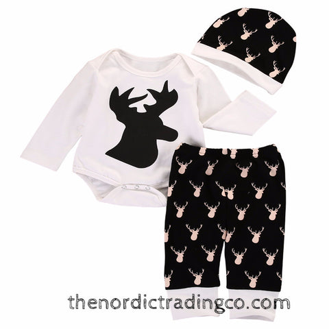 Infant Black & White Deer 3 pc Set Baby Boys Outfits Baby Shower Gift Boy USA Seller Clothing Accessories Clothes