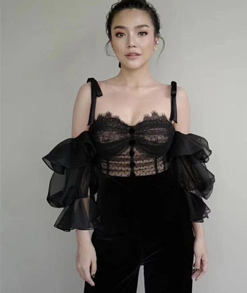 Womens Formal Pant Suit Black Satin & Velvet Winter Formal Wear Sexy Slashed Bustier Romantic Lantern Sleeves Wedding Prom Clubbing Ball
