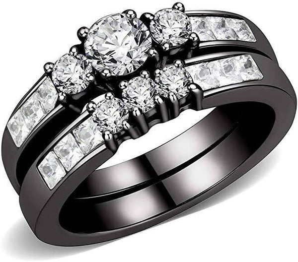 Couples Rings Black Silver Men's Engagement Band Women's Bridal Set Engagement plus Wedding Ring Stainless Steel His Hers Sets Bride Groom's Bands Jewelry