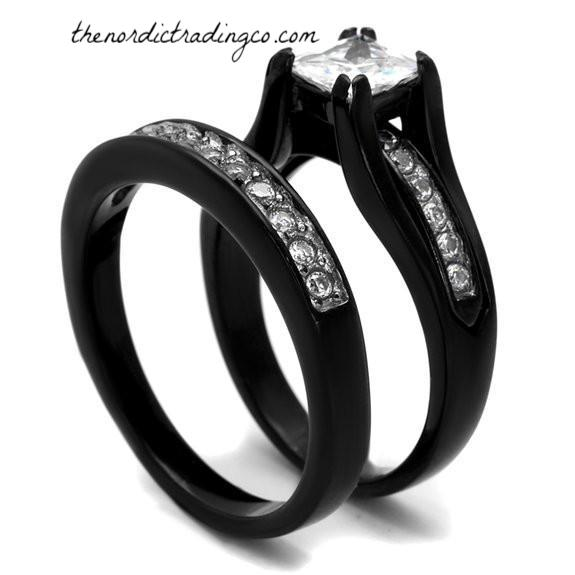 3 Ring Set Black & White His & Hers / Women's Engagement Ring Wedding Bands Men's Titanium Band FREE Bride Groom Wedding Rings Jewelry